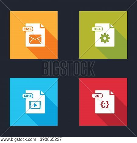 Set Eml File Document, Dll, Mp4 And Js Icon. Vector