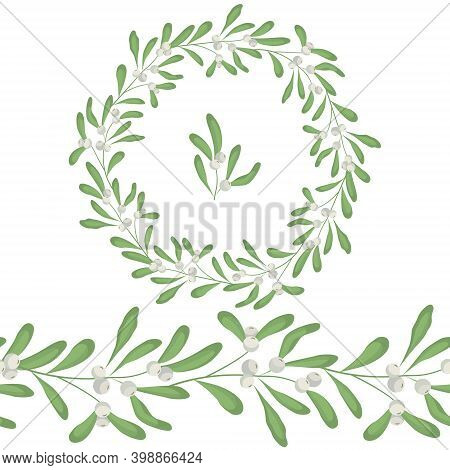Seamless Brush And Round Frame, Border With White Mistletoe For Greeting Cards, Invitations, Posters