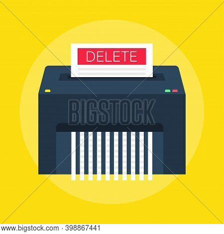 Delete Files Or Deleted Documents Process. Paper Shredder Machine. Flat Style. Vector Illustrations.