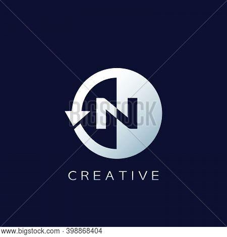 Circle Arrow Letter N Geometrical Logo Negative Space Vector Design