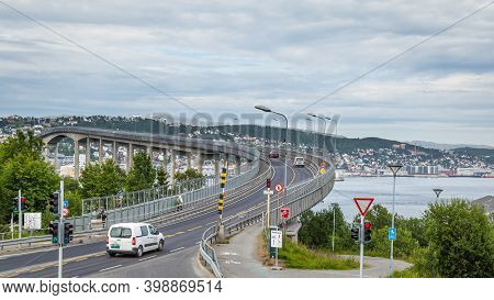 Tromso, Finland - July 27, 2016: View On The Bridge From The Arctic Cathedral To The Center Of Troms