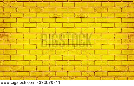 Colorful Brick Wall, Bright Yellow Vintage Style Of Brickwork Background Paint With Texture Details.