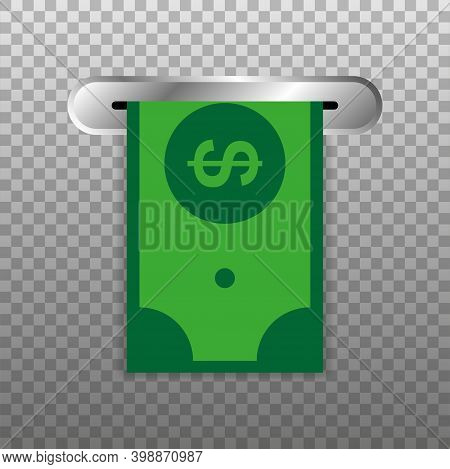 Withdraw Money From Atm Slot. Vector Illustration.