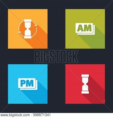 Set Old Hourglass, Clock Am, Pm And Icon. Vector