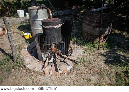 Details With A Homemade Alcohol Metal Still Made To Distill Romanian Traditional Moonshine Tuica Or