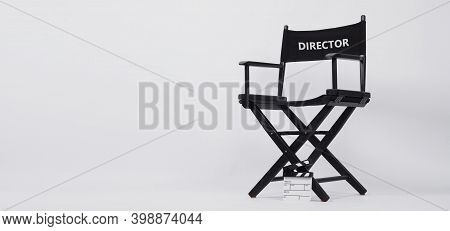 Black Director Chair And Small White Slate Or Clapper Board Or Movie Slate Use In Video Production A