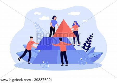 Team Of People Building Pyramid, Connecting Puzzle Elements Together. Vector Illustration For Busine