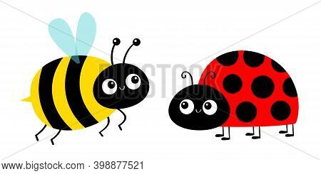 Lady Bug Ladybird Bee Bumblebee Flying Insect Icon Set. Ladybug. Side View. Cute Cartoon Kawaii Funn