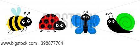 Bee Bumblebee, Butterfly, Snail Cochlea, Lady Bug Ladybird Flying Insect Icon Set. Cute Cartoon Kawa