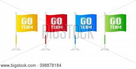 Go Team. Sketch Flag Banner On White Background. Vector Illustration.