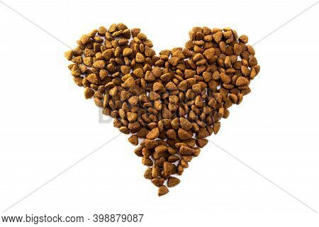 Dog Food. Pet Food In The Form Of A Heart On A White Background. Dog Food Isolate