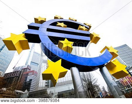 Frankfurt, Germany - January 22, 2019: Euro Sign. European Central Bank (ECB) is the central bank of the euro and administers the monetary policy of the Eurozone in Frankfurt, Germany.