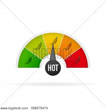 Hot Pepper Strength Scale Indicator With Mild, Medium, Hot And Hell Positions. Chilli Level. Vector