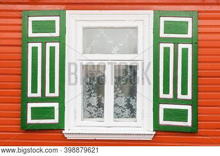 White Window Background. Old Window Frame. Cottage House Architecture. Open Window Shutters. Orange