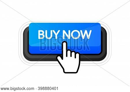 Icon With Blue Buy Now 3d Button On White Background For Web Marketing Design. Flat Deign. Social Me