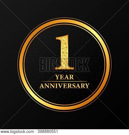 One Year Anniversary Background With Gold Button. Vector Illustration