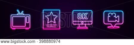 Set Line Retro Tv, Hollywood Walk Of Fame Star, Monitor With 8k And Camera And Location. Glowing Neo