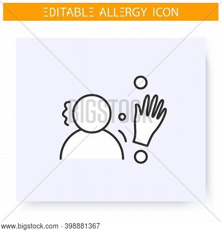 Latex Allergy Line Icon. Allergic Contact Dermatitis. Immunity Reaction, Immune Intolerance And Immu