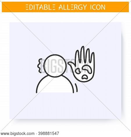 Itching Line Icon. Dermal Allergy Symptome. Spots. Diagnostics And Treatment. Immunity Reaction, Imm