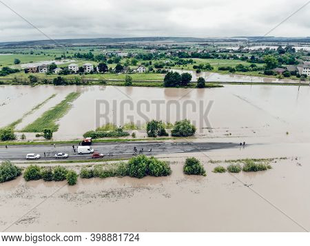 Aerial View Of The Flooded Streets And Houses In The City. Global Catastrophe, Climate Change, Flood