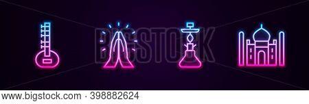 Set Line Sitar, Hands In Praying Position, Hookah And Taj Mahal. Glowing Neon Icon. Vector