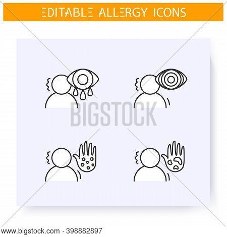 Allergy Symptoms Line Icons Set. Rheum, Red Eyes, Astma, Dermatitis. Diagnostics And Treatment. Immu