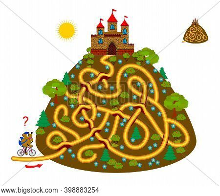Logic Puzzle Game With Labyrinth For Children And Adults. Find The Path And Help The Postman Deliver