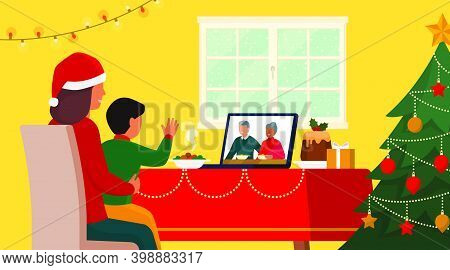 Families Celebrating Christmas At Home And Connecting Online On Video Call, The Child Is Waving At T
