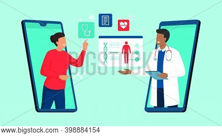 Online Doctor And Telemedicine: Woman Connecting With A Doctor Online Using A Smartphone App And Hav