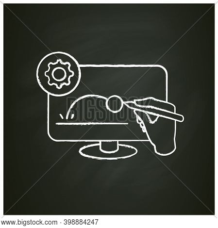 Animated Video Clip Chalk Icon. Pictogram Of Hand Drawing Animation Video Content On Computer Monito