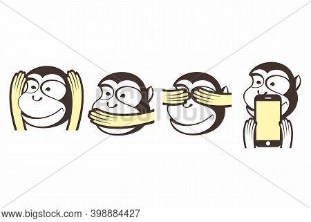 Three Wise Monkeys Vector Character Illustration. See No Evil, Hear No Evil, Speak No Evil  And Mobi