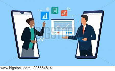 Confident Business People Connecting Together Online And Sharing Files On Their Smartphones, Remote
