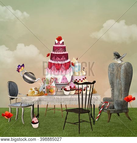 Surreal Cakes Buffet In A Countryside Scenery - 3d Illustration