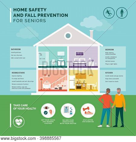 Senior Fall Prevention And Safe Home Infographic: How To Make A Home Safe For Seniors And Healthy Li