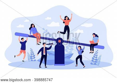 Business Team Competition. Groups Of People Balancing On Seesaw, Weighing Down Scale. Vector Illustr