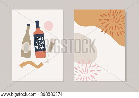 Set Of Hand Drawn Happy New Year Greeting Cards. Holiday Party Invitations. Vector Illustrations. Wi