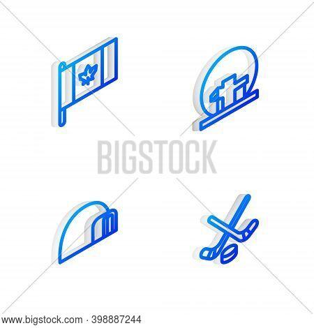 Set Isometric Line Montreal Biosphere, Flag Of Canada, Igloo Ice House And Ice Hockey Sticks And Puc