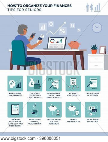 How To Organize Your Finances: Financial Management Tips For Seniors, Infographic With Icons Set