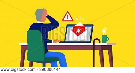 Shocked Senior Opening An Infected E-mail Containing A Virus, Internet Safety For Seniors Concept