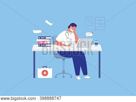 Stressed Doctor Sitting With Laptop In Office. Overworked Doctor. Burnout. Vector