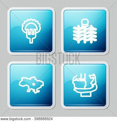 Set Line Dumplings On Fork, Wicker Fence, Map Of Ukraine And Monument To Founders Kiev Icon. Vector