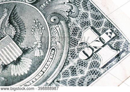 One Dollar Bill Close Up Photo. Detail Of Us One Dollar Banknote With. Macro Shot Of Single Dollar B