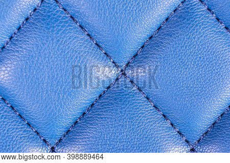 Modern Luxury Car Blue Leather Interior. Part Of Perforated Leather Car Seat Details. Blue Perforate