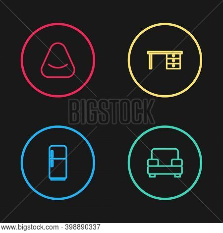 Set Line Refrigerator, Armchair, Office Desk And Pouf Icon. Vector