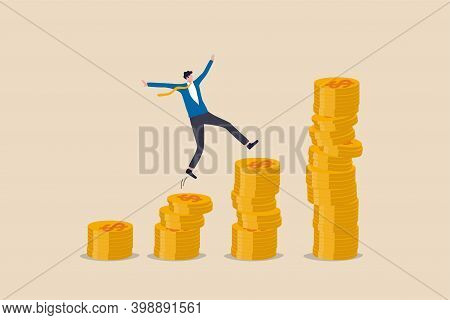Compound Interest, Money Growth Investment, Prosperity Or Earning And Profitability Stock Concept, H