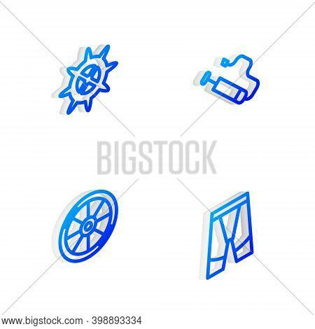 Set Isometric Line Bicycle Air Pump, Sprocket Crank, Wheel And Cycling Shorts Icon. Vector
