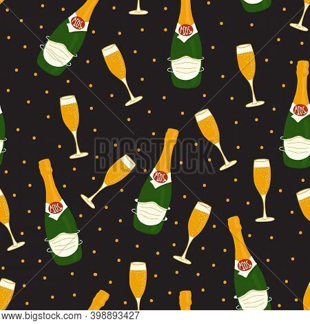 2021 New Year Celebration Champagne Bottles Wearing Face Masks Against Covid Vector Pattern. Alcohol