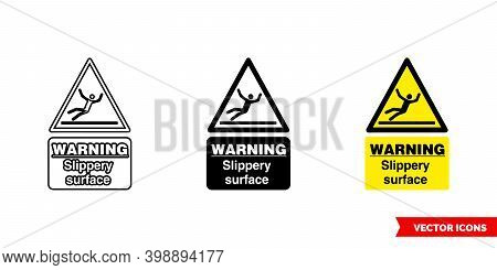Warning Slippery Surface Hazard Sign Icon Of 3 Types Color, Black And White, Outline. Isolated Vecto