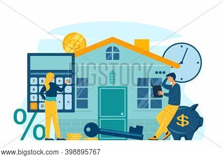 Mortgage And House Loan Concept Flat Vector Illustration. Characters Man And Woman On Background Of