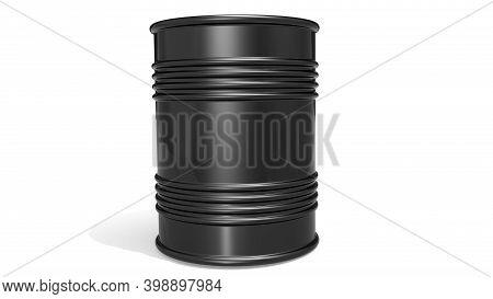 Black Barrel For Crude Oil Or Petroleum, 3d Rendering